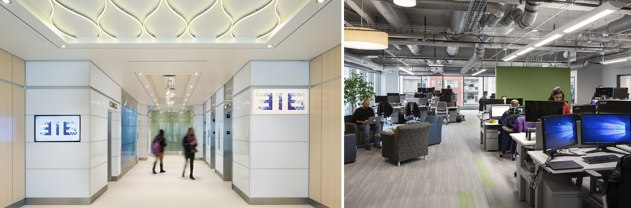Two images showing an office and lobby