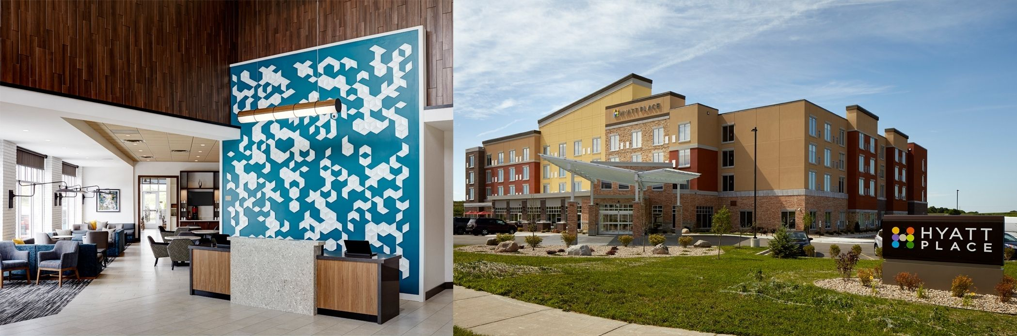 Two images Hyatt Place Hotel lobby and exterior